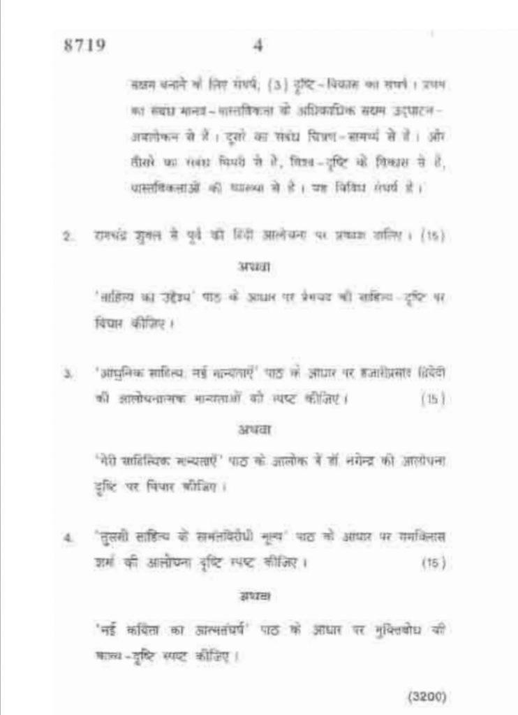 2019 DU का हिंदी आलोचना प्रश्न पत्र